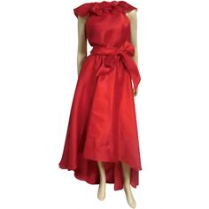 70s Halston Red Silk Organza Wrap Dress w/ Ruffles, Angled Hem