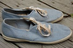Vintage 80s Chambray Light Blue Denim Keds Vans Lace Up Sneakers Tennis Shoes Size 9 by MaidenhairVintage, $18.00