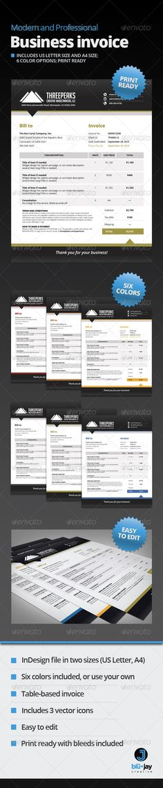 Invoice Stationery, Colors and Proposals - professional invoices