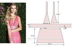 PASSO A PASSO MOLDE DE VESTIDO Corte duas alturas de tecido e dobre a meio para a saia do vestido. Corte o cinto. Com os restos de tecido, corte os dois tr