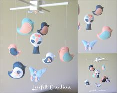 Baby Crib Mobile  Baby Mobile  Bird Mobile by LoveFeltXoXo on Etsy, $155.00