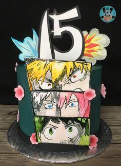 15th Birthday Cakes, Cookie Cake Birthday, 10th Birthday Parties, Sweet 16 Birthday, Bolo Naruto, Cherry Blossom Party, Anime Cake, Japanese Party, Unicorn Cupcakes