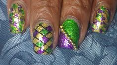 Easy Mardi Gras Nail Art.  Enjoy and thanks for watching.