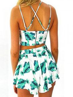 596a6f75561 Faithtur Women s Boho Floral Print Spaghetti Strap Crop Cami Top With  Shorts (Label S US Green and White)
