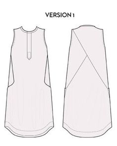 Victory Patterns Hannah dress: semi-fitted bodice, loose shift with back detail/side insets, curved hem with hem facing