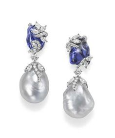 Mikimoto Hyacinthia earrings with baroque South Sea cultured pearls, tanzanite and diamonds.
