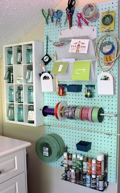 Today's organizational post is about the variety of uses for pegboard in a craft/sewing room. My sewing room is pretty small, only 8 ft. Sewing Room Organization, Studio Organization, Craft Room Storage, Organization Ideas, Craft Rooms, Storage Ideas, Jar Storage, Pegboard Storage, Ribbon Storage