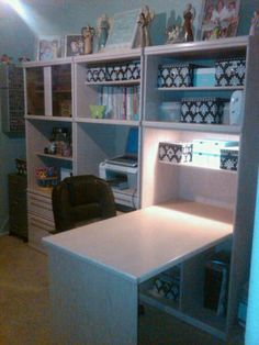 nice desk idea for the bookshelves. I'd make a small hidden cabinet/storage area at leg/board end of the desk.