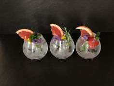 G&T's Garnished with grapefruit, edible flowers and strawberries. Gin & Tonic Cocktails, Gin And Tonic, Craft Gin, Gin Lovers, Edible Flowers, Grapefruit, Strawberries, South Africa, Glass Vase