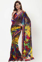 Apparel – Printed Multi Saree + FREE T-SHIRT & BONUS eBooks worth $87—$89.00(Save 61%!) Multicoloured saree for women. Made of georgette, this printed saree measures 6.3 m including a b…
