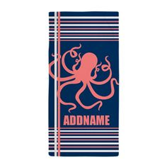 Navy Coral Octopus Stripes Personalize Beach Towel