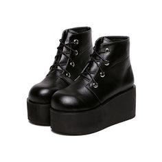 Black Lace Up PU Wedges Boots (645 MXN) ❤ liked on Polyvore featuring shoes, boots, black, short lace up boots, lace up boots, chunky boots, short black boots and black wedge shoes