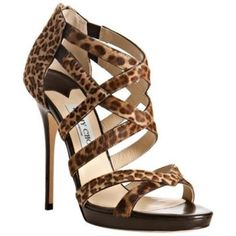 Pre-Owned  Jimmy Choo Lewellop Brown Leopard Sandals High Heels Pony... ($320) ❤ liked on Polyvore featuring shoes, sandals, brown, high heel sandals, polish shoes, zip back sandals, jimmy choo shoes and leopard heel sandals