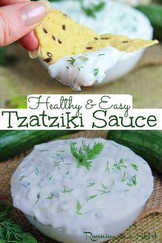 Healthy Tzatziki Sauce recipe with greek yogurt- Easy & Homemade. An Authentic Tzatziki with only 5 Ingredients - cucumber, dill, lemon and garlic. Perfect for vegetarian or Chicken Gyros, pita bread, or as a dip for vegetables or chips You are going to love this light cucumber dip and Tzatziki recipes! / Running in a Skirt #greekrecipes #tzatziki #mediterraneandiet #healthyrecipe #vegetarian Easy To Make Appetizers, Yummy Appetizers, Yummy Snacks, Appetizer Recipes, Homemade Tzatziki Sauce, Tzatziki Recipes, Easy Party Food, Party Food And Drinks, Cucumber Dip