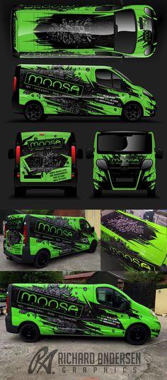Van wrap design with custom character.