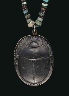 Green schist scarab. Late Period - Ptolemaic Period, c. 664-30 B.C. | Christie's
