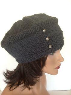 Hand Knit Wool Hat Beret Slouch Beanie Gray Silver Buttons  Designer Fashion   #Handmade #beretbeanieslouchhattam