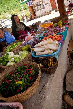 Fresh fruits and vegetables in Bumthang, Bhutan