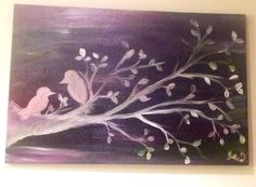 Canvas bird art --- mixed media