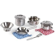 Found it at Wayfair - Cooking Essentials 10 Piece Stainless Steel Set Kids Cooking Set, Cooking Toys, Play Kitchen Accessories, Kitchen Cookware Sets, Play Kitchen Sets, Play Kitchens, Stainless Steel Pot, Pots And Pans Sets, Pan Set