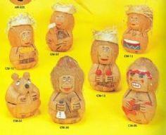 Wholesale  Assorted Coconut Heads Carved Coconut Monkeys Minimum 6 pieces @ $2.25 each