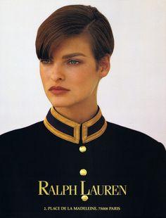 99b27f8afc8f30 Ralph Lauren 1990 Model   Linda Evangelista Classique, Haute Couture,  Visage, Affiche,