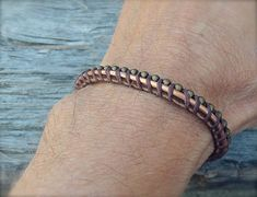 Bracelet for Men: Copper Wire with Leather and Bead Chain