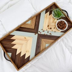 Wood Tray with Leather Handles - Modern Serving Tray - Breakfast Tray - Modern Wood Tray - Decorative Tray - Wood Wall Art - Gift for Him Diy Wood Projects, Wood Crafts, Woodworking Projects, Diy Wall Art, Wood Wall Art, Intarsia Holz, Modern Serving Trays, Wood Mosaic, Woodworking Plans