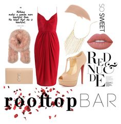 """""""Nudes & Reds"""" by lediabug on Polyvore featuring Christian Louboutin, Zimmermann, Yves Saint Laurent, Topshop Unique, Lana, Lime Crime, Bare Escentuals, summerdate and rooftopbar"""