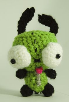 Invader Zim Gir crochet amigurumi I need this Cute Crochet, Crochet Toys, Knit Crochet, Amigurumi Patterns, Crochet Patterns, Crochet Ideas, Gir From Invader Zim, Halloween Crochet, Kawaii