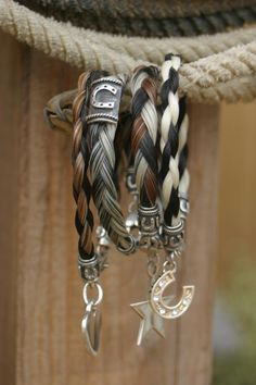 Hair Jewelry Custom horse hair bracelets by Tailspin Equestrian Bracelets I would love one from whinny and goose Equestrian Jewelry, Western Jewelry, Equestrian Style, Country Jewelry, Cowgirl Jewelry, Horse Hair Bracelet, Horse Hair Jewelry, Cowgirl Bling, Cowgirl Style