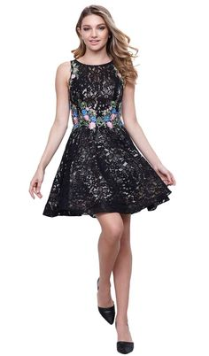Make a lasting impression as you flourish flair in this Nox Anabel 6281 creation. This cocktail dress parades in a sleeveless bateau neckline with bra cups underneath the lace and floral embroidered dress. The waist is adorned by multicolored floral embroidery and the skirt gives off a short A-line silhouette. Walk into a room like a breath of fresh air in this Nox Anabel masterpiece. Plus Size Black Dresses, Plus Size Cocktail Dresses, Plus Size Party Dresses, Cocktail Dress Prom, Short Dresses, Prom Dresses, Formal Dresses, Lace Dresses, Embroidery Dress