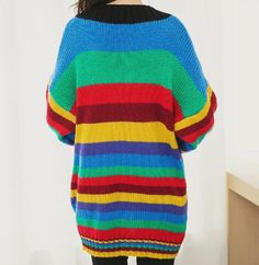 Color block striped sweater dress for girls v neck tops  batwing sleeve