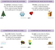 Des comptines pour chaque mois de l'année à afficher ou à coller dans les cahiers.