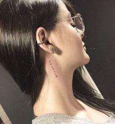 Word Neck Tattoos, Small Neck Tattoos, Neck Tattoos Women, Back Of Neck Tattoo, Cute Small Tattoos, Body Art Tattoos, Sleeve Tattoos, Tattoo Women, Tattoo Neck