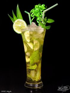 Mojito White rum Mint leaves Lime slices Lime juice Cane sugar Soda Ice  :bulletgreen: Put into a glass mint leaves, lime, cane sugar and crush. Add crushed ice, rum, fill up with soda water, stir, garnish and serve.