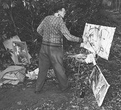 Ivon Hitchens painting Artist Life, Artist At Work, Painters Studio, Famous Artists, British Artists, Studio Portraits, Abstract Landscape, Art Studios, Gallery
