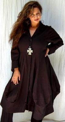 Q238 Black Coat Jacket Lagenlook Lotus Traders OS Bust to 46 | eBay