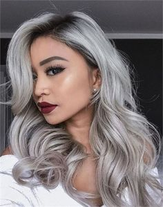 Many women today prefer to go with grey hair, so gray hair has become trending. But you have to know what you are doing when going for grey hair. Discover in the video below what you need to know about gray hair and you could be missing. Grey Ombre Hair, Grey Wig, Silver Grey Hair, Silver Platinum Hair, Black Wig, Grey Hair With Black Roots, White Hair, Long Black, Silver Hair Colors