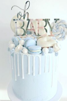 baby blue candy drip baby shower cake