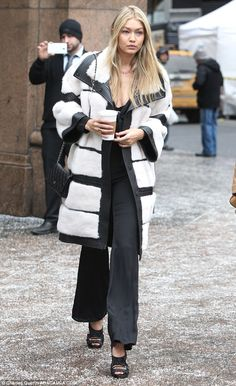 Gigi Hadid wearing Chanel Wallet Purse on a Chain, Tabitha Simmons Bailey Sandals and J. Mendel Fall 2014