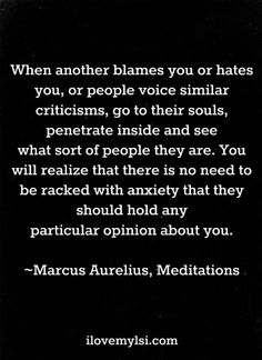 """""""When another blames you or hates you, or people voice similar criticisms, go to their souls, penetrate inside and see what sort of people they are. You will realize that there is no need to be racked with anxiety that they should hold any particular opinion about you.""""   ― Marcus Aurelius, Meditations"""