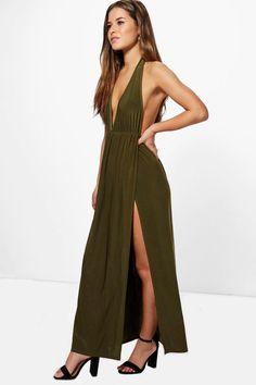 Petite Laurie Plunge Neck Halterneck Maxi Dress