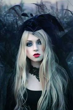 at Stevie board Gothic Goth Beauty, Dark Beauty, Gothic Girls, Dark Fashion, Gothic Fashion, Blonde Goth, Sublime Creature, Gothic Images, Gothic Photography
