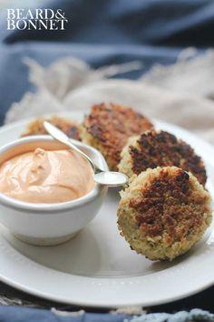 Roasted Red Pepper Cashew Cream and Crispy Quinoa Cakes {Gluten-Free, Vegan}