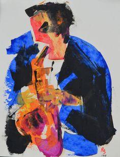 Ron Blumberg - Saxophonist, 1941, acrylic on paper