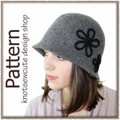 ($) Vintage Inspired Felted Cloche, crochet pattern for purchase