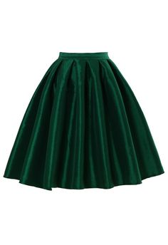 Green A-line Midi Skirt