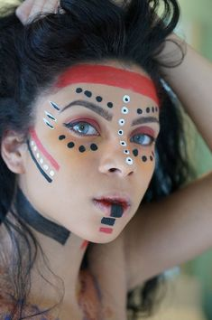 Wonderful tribal makeup for halloween girl halloween, indian makeup halloween, female halloween costumes, Halloween Costumes For Girls, Fall Halloween, Indian Makeup Halloween, Indian Halloween Custome, Makeup Carnaval, Tribal Makeup, Fx Makeup, Makeup Ideas, Makeup Tips
