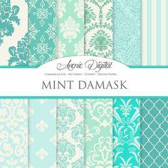 Mint Damask Digital Paper. Scrapbooking Backgrounds, Mint light green patterns for Commercial Use. wedding digital paper. Instant Download.